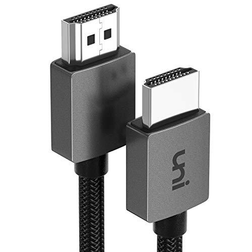 HDMI Kabel 4K@60Hz, uni 4K HDMI Kabel 1,8m, [Nylon geflochten, Aluminiumschale] 3D Ethernet-Funktion, Full HD, 1080p, HDR, kompatibel mit PS4, P3, Xbox und mehr - 1,8m