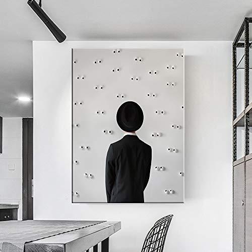 Anzug Hut Charakter Rückwand abstrakte Malerei Leinwand Malerei Home Decoration Wandkunst Retro Home Decoration,Rahmenlose Malerei,30x41cm