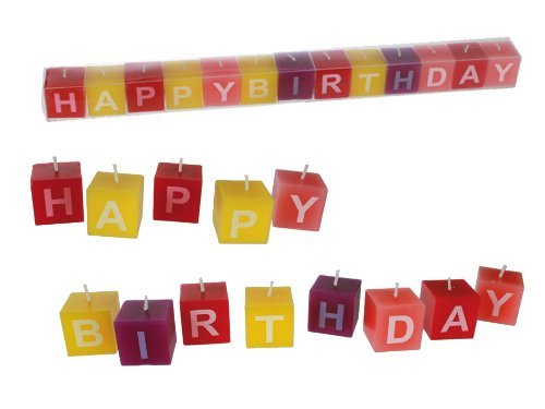 Happy Birthday Kerzen in verschiedenen Farben! ca. 3 x 3 cm, 13er Set Geburtstagskerzen in PVC-Box von BRUBAKER!