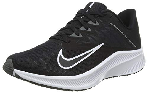 NIKE Quest 3, Running Shoe Mujer, Black White Iron Grey, 38.5 EU
