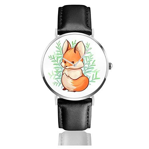 Reloj de cuero lindo pequeño zorro unisex clásico casual moda reloj de cuarzo reloj de acero inoxidable con correa de cuero