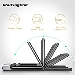 WALKINGPAD A1 Foldable Treadmill Walking Pad Smart Jogging Exercise Fitness Equipment, Free Installation Low Noise Footstep Induction Speed Control,Folding Under Desk 0-3.72mile/Hour