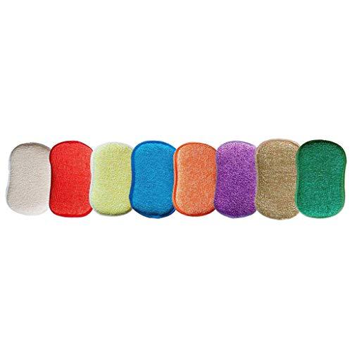 WARMWORD Estropajo de Cocina de Doble Cara esponjas de Microfibra Antibacteriano sin Olor Dish Scrubber Cepillo, Ideal para Antiadherente sartenes ollas, Pack de 5 Colores al Azar.