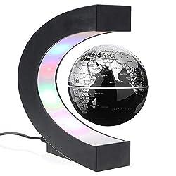 Magnetische Schweben Globus C-Form mit nachtleuchtender LED Schwebender Globus Geographie Enthusiasten Geschenk Ideal für Unterricht und Büro Zuhause Dekoration