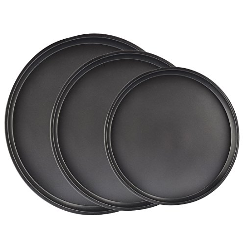 Bakeware Set, Yamix 3Pcs Set Carbon Steel Nonstick Kitchenware Baking Pan Round Pizza Pan Pizza Tray - Black