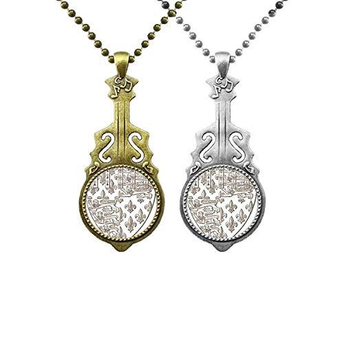 Halskette mit Anhänger in Form eines Löwenschilds mit Musik-Gitarre, barocke Kunst