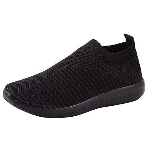 YWLINK Damen Socken Schuhe Outdoor Schuhe Freizeit Slip On Bequeme Sohlen Sports Licht Atmungsaktiv Mesh Sneakers Laufschuhe Turnschuhe Fitnessschuhe Bequeme Schuhe(Schwarz,42 EU)