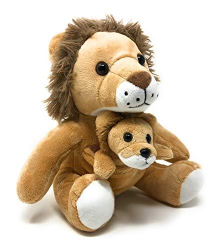 Funstuff 14' Lion Stuffed Animals | Plush Animal Lions Soft Kids Toy| Momma & Baby Animals Cub | 2 Stuffed Toy Animals