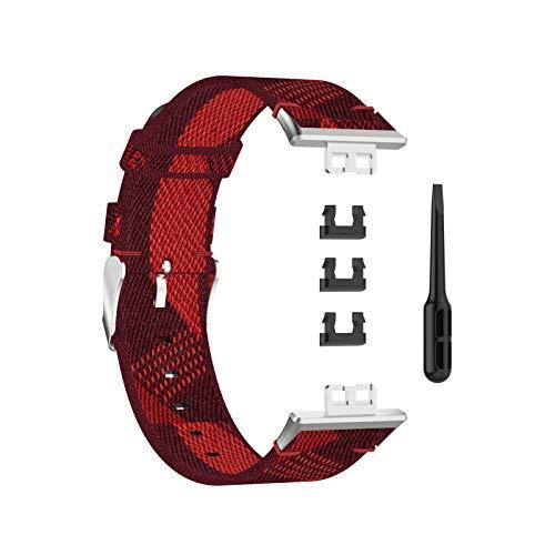 KingbeefLIU Correa de reloj ajustable de nailon grueso con hebilla de metal para reloj, color rojo