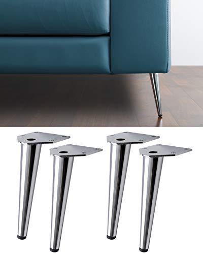 4 Patas para sofás, Muebles, sillones Modelo Swing – Juego de 4 Patas de Hierro – Diseño Moderno y Elegante – Altura 150 mm – Color Plateado Cromado