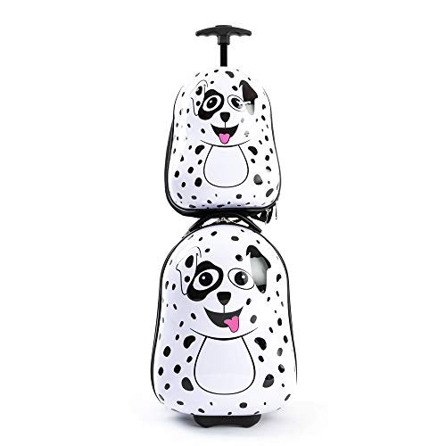 Kiddietotes Kids Carry-on Luggage and Backpack - Great for Girls and Boys - Smooth Rolling Wheels - Puppy