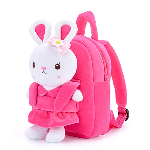 Gloveleya Kids Backpack Girl Toys Toddler Backpack for Girls with Stuffed Bunny Toy Rose Red 9''