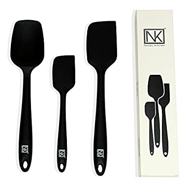 Nordic Kitchen 3-piece Silicone Spatula Set - BPA Free, FDA Approved, 450F Heat Resistance, Stainless Steel Core, (Black)