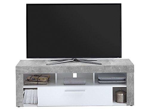 möbelando TV-Lowboard HiFi Longboard Unterschrank Fernsehtisch Rack Tisch Morena I Light Atelier/Weiß