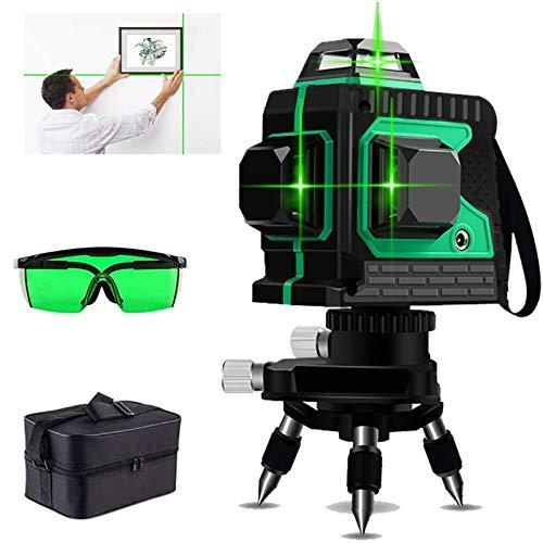 3D Kreuzlinienlase Grün, 12 Laserlinie 3 X 360°Professionel Laserpegel Selbstausgleichende, Uperstarke Grüne Laserstrahllinie mit Pulsfunktion (inkl. 2*AA Batterien & Schutztasche)