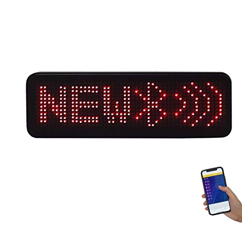 EKR Bluetooth Name Badge LED Sign Wireless Name Sign Rechargeable Name Tag (Red)