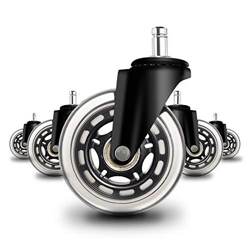 Anyke Flüsterleise Bürostuhlrollen 10mmX22mm Rollerblade Stil Rollenset für Bürostuhl Rolle Caster Räder Schwarz 5 Stück
