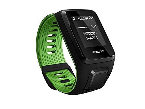 TomTom Runner 3 Cardio+Music Orologio GPS, Cardiofrequenzimetro Integrato, Lettore Musicale Integrato, Cinturino Large, Nero/Verde