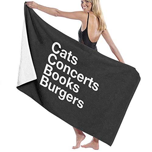 U/K Toalla de baño de gatos de conciertos con diseño de hamburguesas