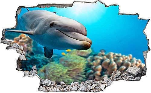 Pegatinas de Pared rotas 3D Cables Delfin Más calcomanías murales extraíbles decoración...