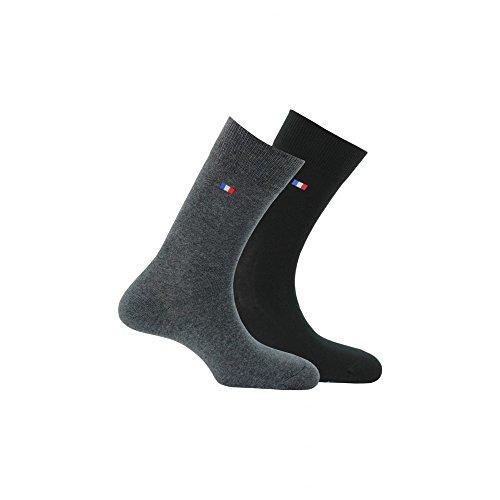 Kindy – 2 Paar Socken hergestellt in Frankreich Gr. 39/42, Anthrazit, Schwarz.