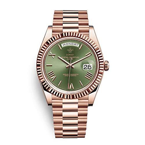 ZMCW Armbanduhren Hot Brand Watch Herren Top Roman Scale Herren Armbanduhr wasserdichte Day Date Uhr für Herren Reloj, Rosegold Green