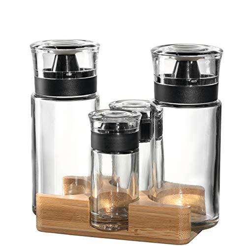 LEONARDO HOME 041554 LIMITED EDITION Menage mit Essig/Öl Flaschen und Salz/Pfeffer Streuer, Materialmix