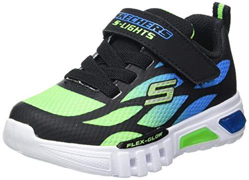 Skechers Kids Boy's S Lights: Flex-Glow Sneaker, Black/Blue/Lime, 1 Little Kid