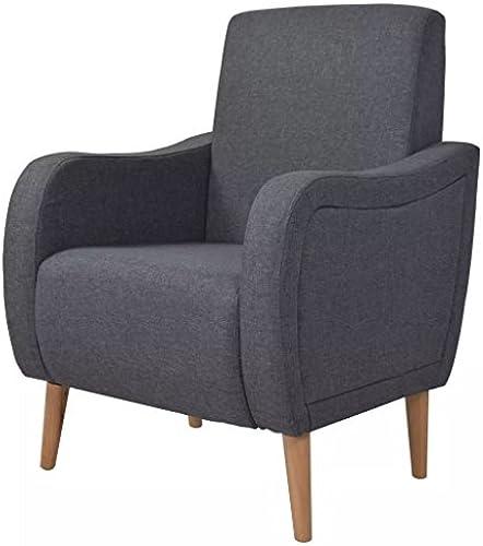 XINGLIEU Sessel aus Holz + Polsterung aus Stoff mit dunkelgrau, 69 x 68,5 x 93,5 cm (B x T x H)
