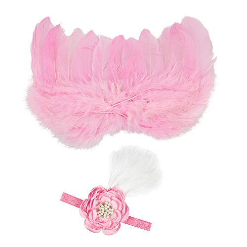 CHIC-Bébé Déguisement Costume Prop Photographie Bandeau Cheveux Fleur Aile Ange Princesse 0-6M (Rose)