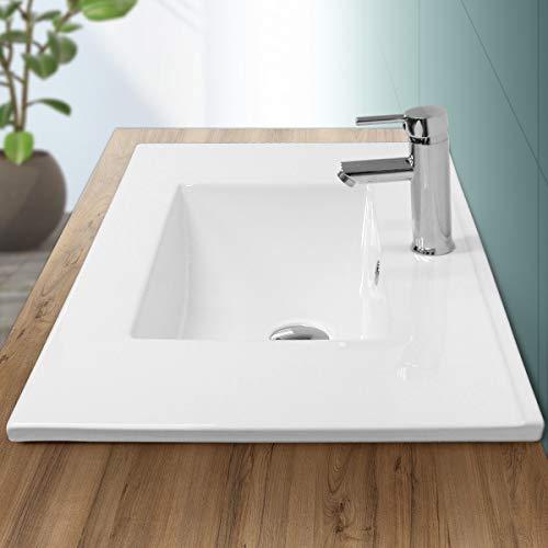 ECD Germany Lavabo di Appoggio Design Moderno - 810 x 465 x 175 mm - in Ceramica - Rettangolare - Finitura Bianco Lucido - Lavandino ad Incasso Lavello Lavamani Bacinella Sanitari Bagno Senza Piletta