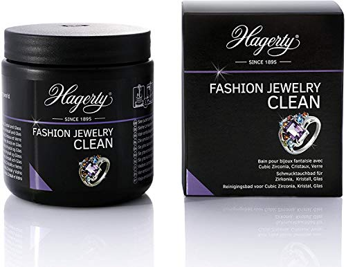 Hagerty Fashion Jewelry Clean Schmuck-Tauchbad 170 ml I Effektiver Reiniger für Modeschmuck mit Zirkonia Kristallsteine Glassteine I Modeschmuckreiniger mit sofortiger Wirkung I inkl. Tauchkorb