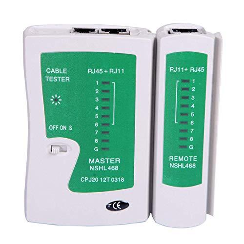 DDyna Probador de Cable de Red LAN Prueba Rj45 Rj-11 Cat5 Utp Herramienta Ethernet Cat5 6 E Rj11 8P Probador de Cable de Red portátil - Blanco