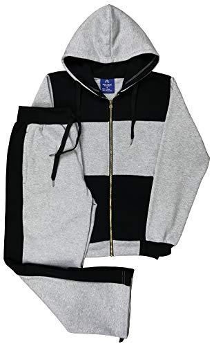 Royal Threads Canada Men Sweatsuit Athletic Activewear Fleece Sweatjacket and Sweatpant Outfit (Grey/Black, L)