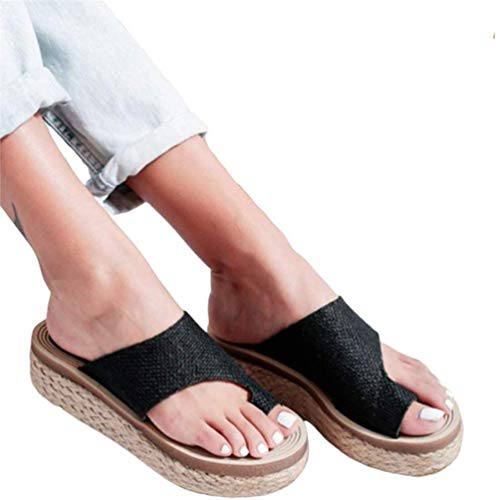 ONEYMM Bunion Sandals Orthopedic Premium Toe Corrector Sandals Slip on Platform Sandals Platform Wedge Slippers Flip Flops Summer Shoes Toe Ring Best-Walk Orthopedic Sandals for Women,Black,35