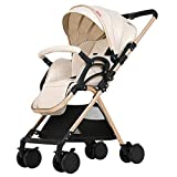 YOYOBaby Kids Pushchair Baby Buggy Beige Lightweight All Terrain Foldable Multi-Position Reclining Seat with Carriage Bag Bearing Weight 30kg