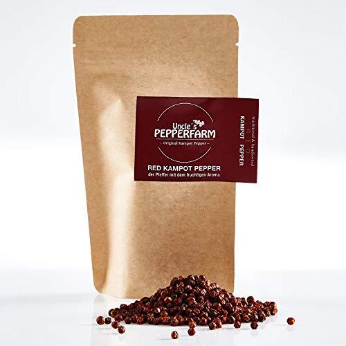 Uncle´s Pepperfarm Roter Kampot Pfeffer - Sonnengetrocknete ganze rote Pfefferkörner aus Kambodscha - 70 g