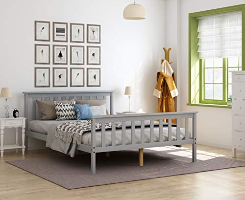 Storeinuk Gray 4FT6 Double Slatted Bed Frame Solid Wood Bedstead Kid Adult Bedroom Furniture