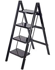 Trapladder, inklapbaar, 4-traps van aluminium, inklapbaar, voor keuken, stap, kruk, multifunctionele ladder, met anti-slip treden, capaciteit 330 lbs