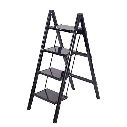 LRZLZY 4-Step-Leiter aus Aluminium, Klappstehleitern, Leichte Küche Schritt Hocker, Mehrzweckleiter mit rutschfesten Trittstufen, 330lbs Kapazität (Color : Schwarz)