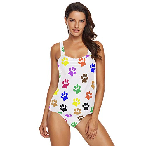 Emoya Tankini-Set für Damen, bunte Hunde, Fußabdrücke, zweiteiliger Bikini, Badeanzug mit Dreieck Gr. XXL, multi