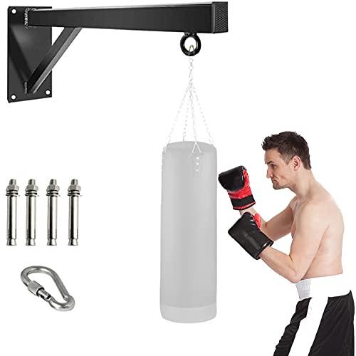 Whchiy - Supporto da parete per sacco in acciaio, 100 kg, robusto supporto per sacco da boxe, fissaggio con moschettone (con serratura) per casa e palestra (60 cm)