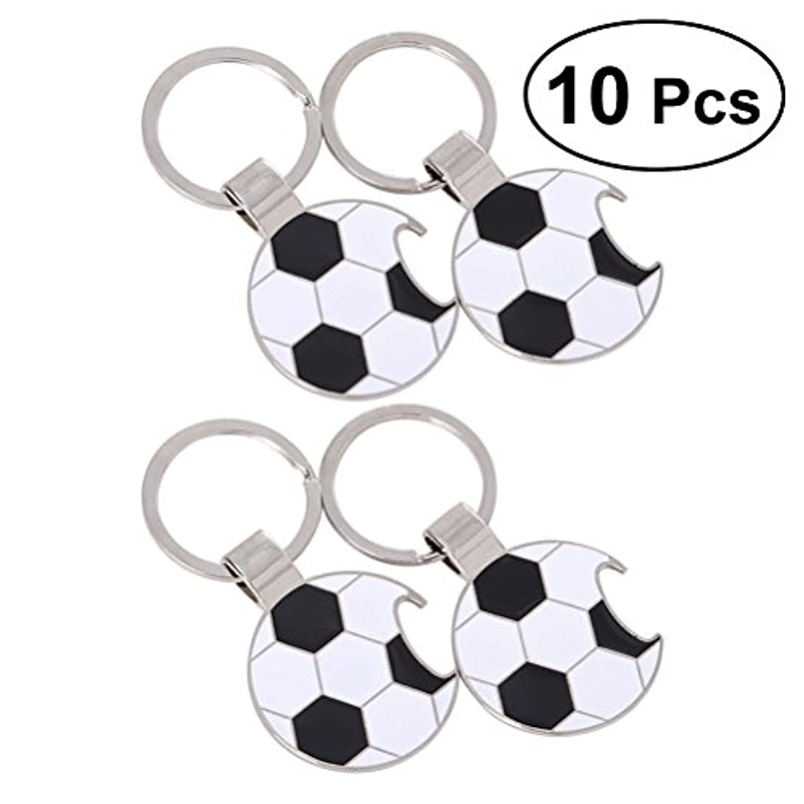 Toyvian 10pcs Soccer Bottle Opener Key Chain Ring Pocket Small Beverage Beer Opener Novelty for The World Cup