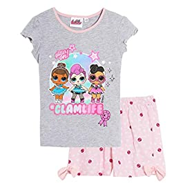LOL Surprise ! Pyjama Court Short et Tee Shirt Enfant Fille Blanc et Gris de 5 à10ans