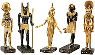 Design Toscano Gods of the Egyptian Realm Figurine Statues, 8 Inch, Set of Five, Polyresin, Black and Gold