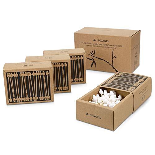Navaris Bastoncillos para los oídos de bambú y algodón - 220 Palillos de orejas 100% reciclables biodegradables y ecológicos - 4 cajas de 55 uds.