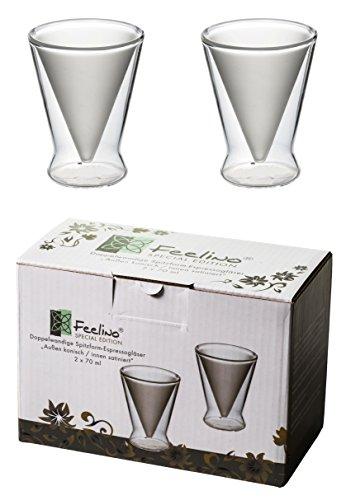 Spikey 2X 70ml doppelwandige Spitzgläser außen konisch/innen satiniert, für Ihren besonderen Espresso, Schnaps, Likör oder Grappa, by Feelino