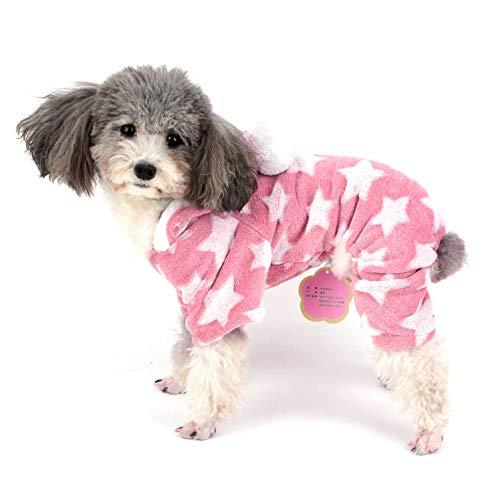 Ranphy Pijama de forro polar para perro, mono de invierno para nia, pijama con capucha, ropa de chihuahua, ropa de cachorro, disfraz de Navidad, disfraz de Yorkie para perros pequeos, gatos, rosa S
