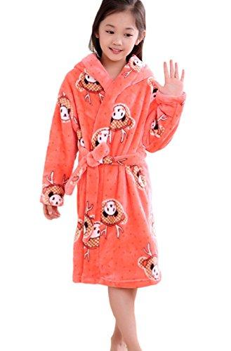 XINNE Jungen Mädchen Kapuzen-Bademäntel Unisex Kinder Morgenmantel Flanell-Pyjama Weiche Herbst Winter Nachtwäsche Größe S Panda