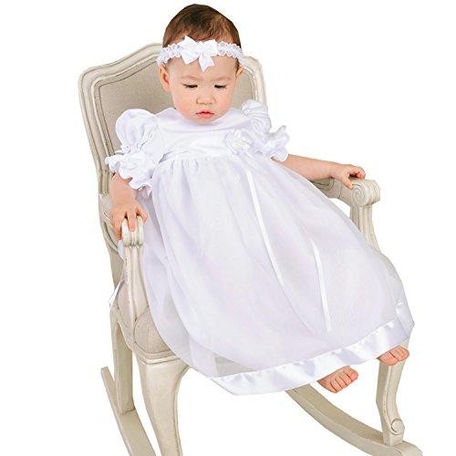 Dressvip bianco Tulle e Corsetto in raso per abiti da battesimo, bambina Bianco bianco
